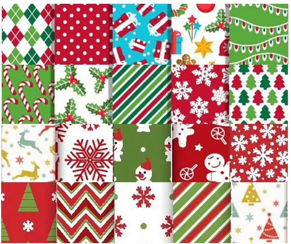 20 Pieces Christmas Cotton Craft Fabric, Xmas Bundles Sewing Square Patchwork for DIY Handmade Accessories(5.9x5.9inch)