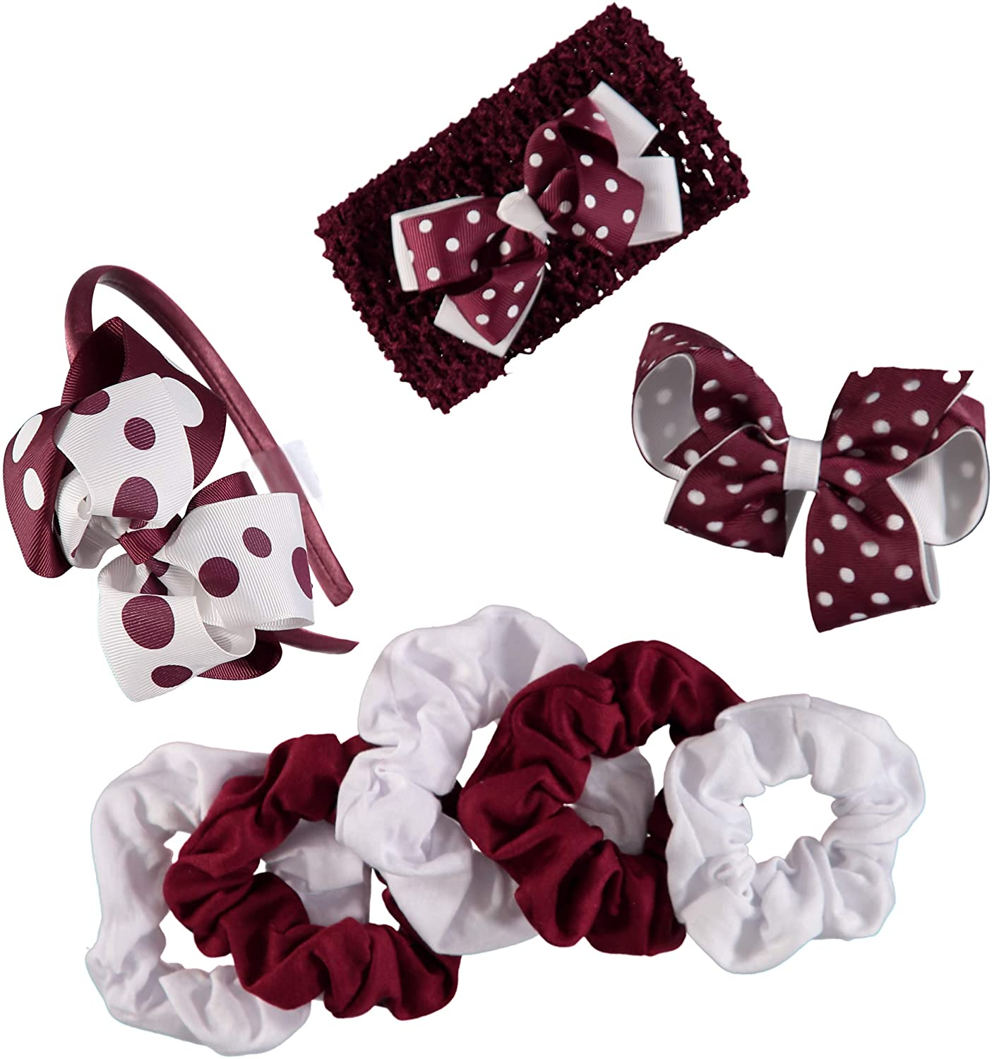 French Toast Kid's School Uniform Stretch Headbands and Ponytail Holders, 4-pack, Burgundy & White, One Size