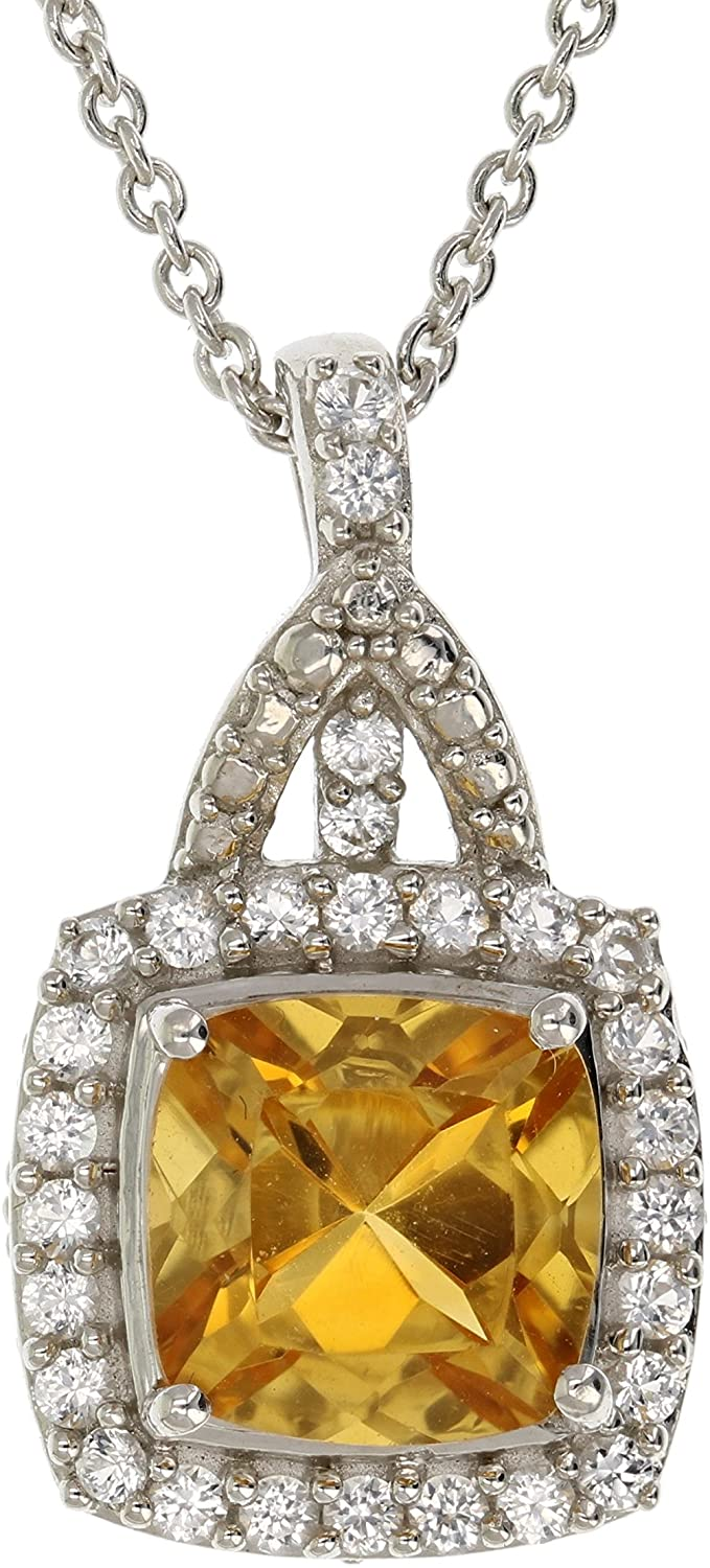 1.50 cttw Cushion Cut Gemstone Pendant .925 Sterling Silver with 18 inch Chain