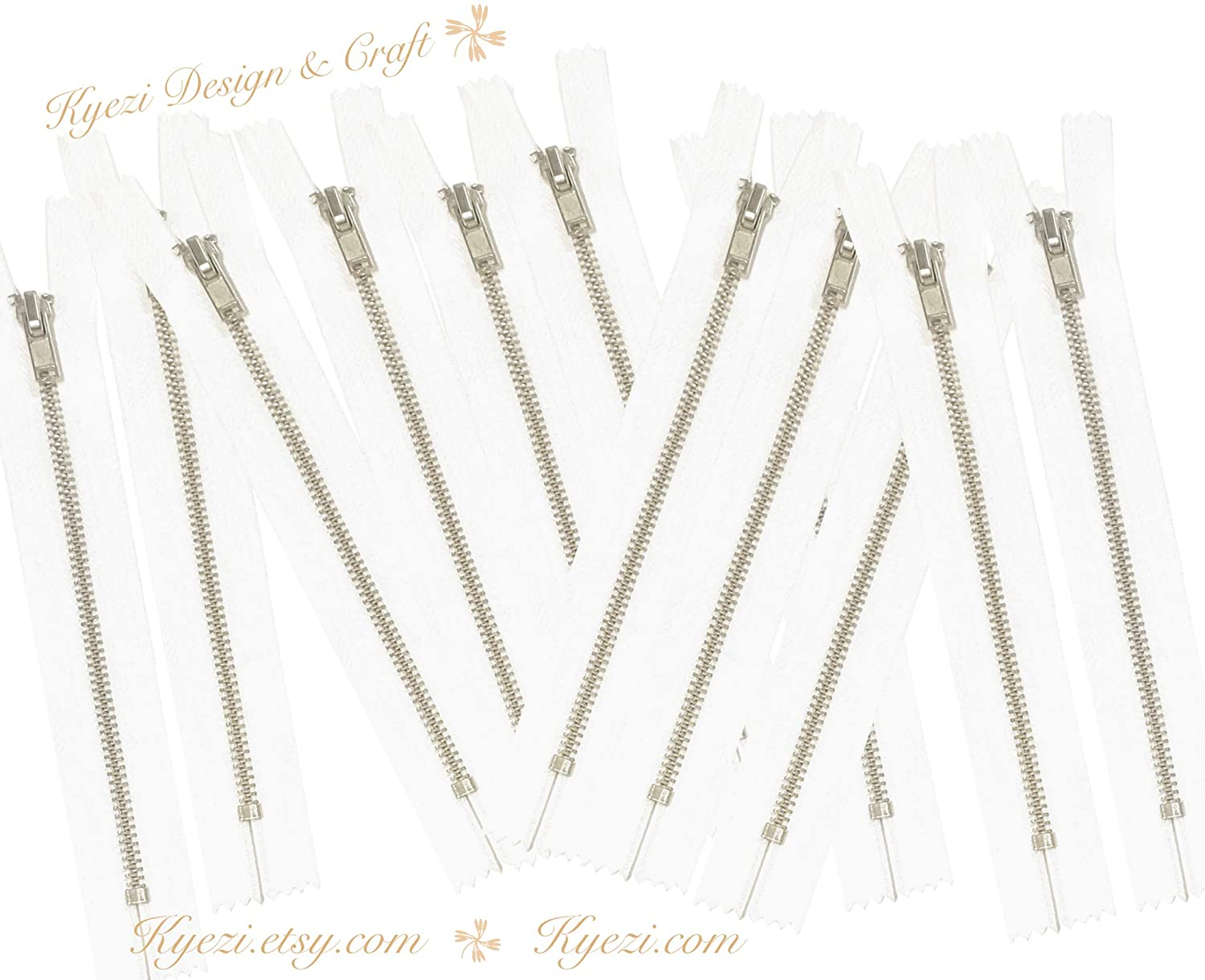 10 pcs Silver Metal Teeth #3 Teeth Zippers - Fast Shipping [Kyezi Design & Craft] (Off White, 6 inch)