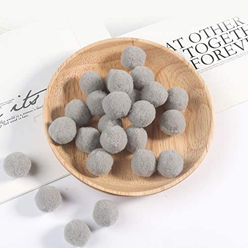 Worldoor Premium 400 PCS 10mm Gray Color Pom Poms, Craft Pom Pom Balls, Colorful Pompoms for DIY Creative Crafts Decorations, Kids Craft Project, Home Party Holiday Decorations (Gray, 10 mm)