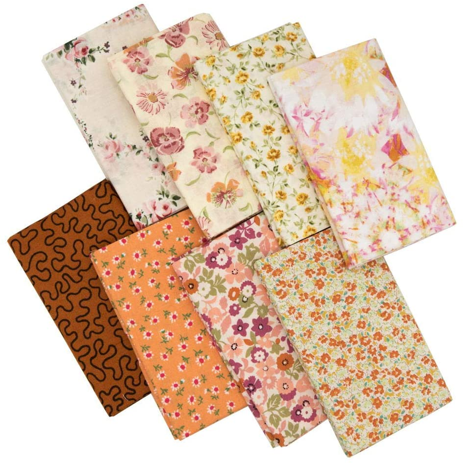 8pcs 21.6 x 18.5 inches (55 x 47 cm) Quilting Fabric No Repeat Design 100% Cotton Precut Fat Quarters Fabric Bundles for DIY Sewing Crafting Patchwork.(Small Flower Pattern Series)