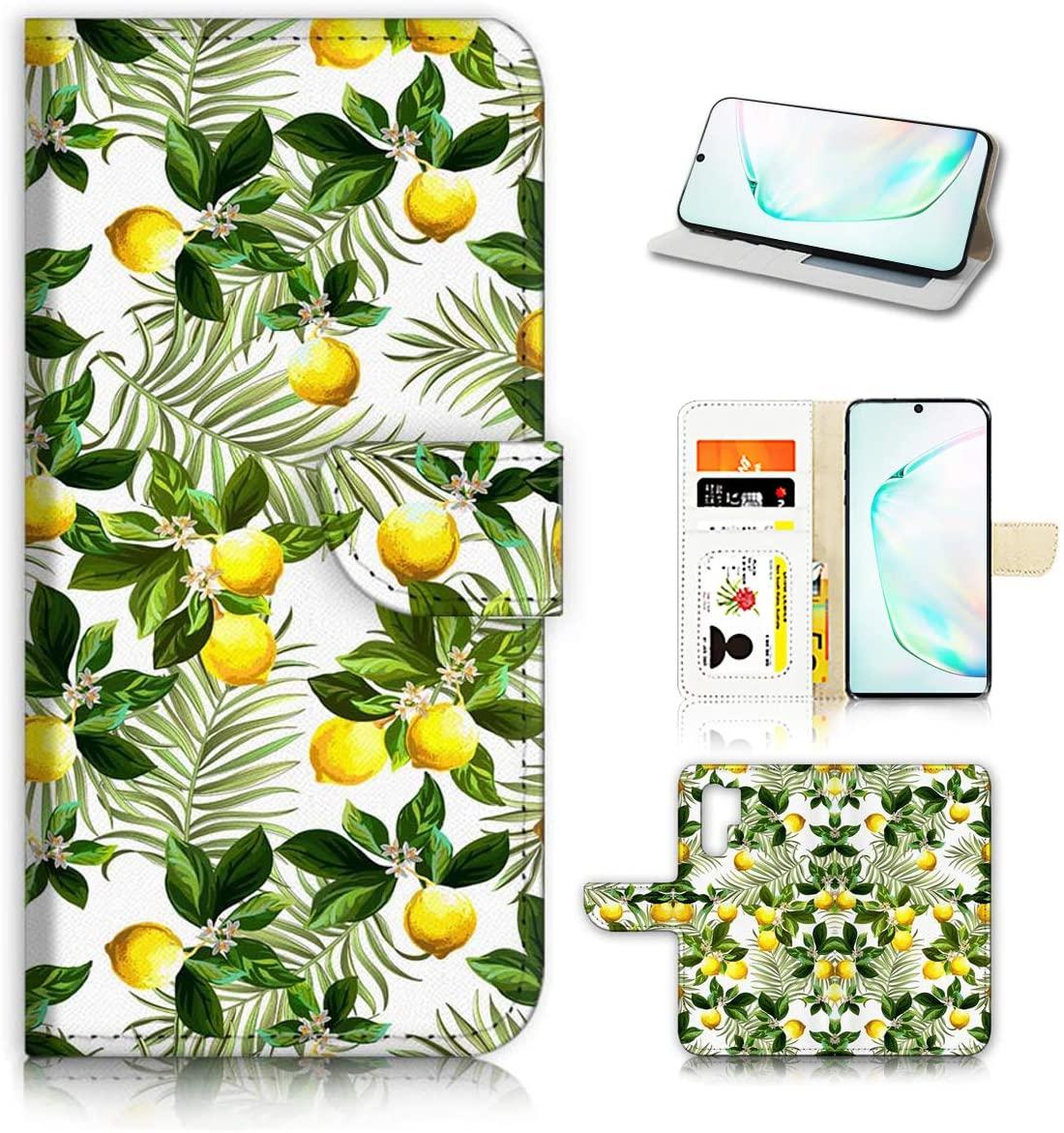 for Samsung Note 10+, Galaxy Note 10 Plus, Designed Flip Wallet Phone Case Cover, A21802 Tropical Palm Lemon Lemonade2180