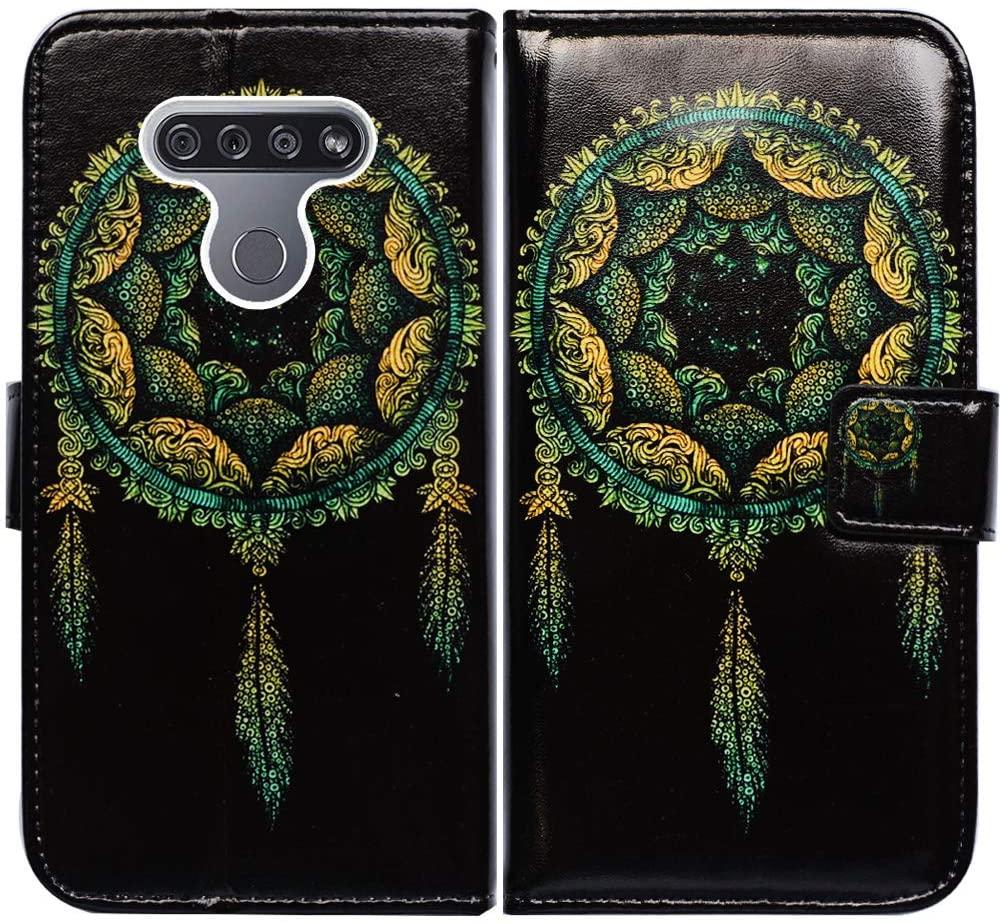 LG K51 Case,LG Reflect (LM-K500) Case,Bcov Green Dream Catcher Black Leather Flip Case Wallet Cover with Card Slot Holder Kickstand for LG K51/LG Q51