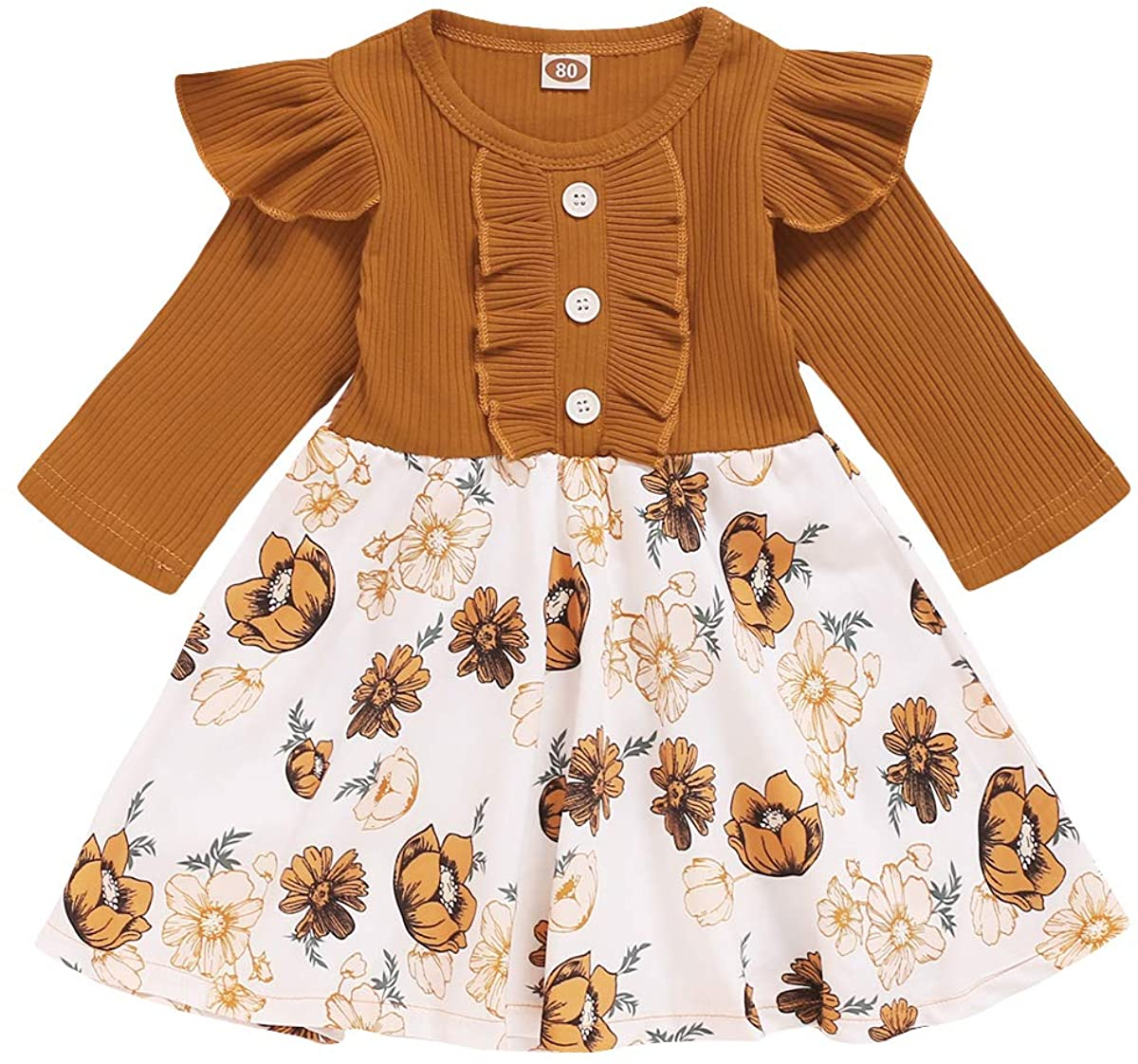 Infant Toddler Baby Girl Ribbed Ruffle Dress Cute Solid Long Sleeve Dresses Floral Fall Winter Warm Outfits Clothes