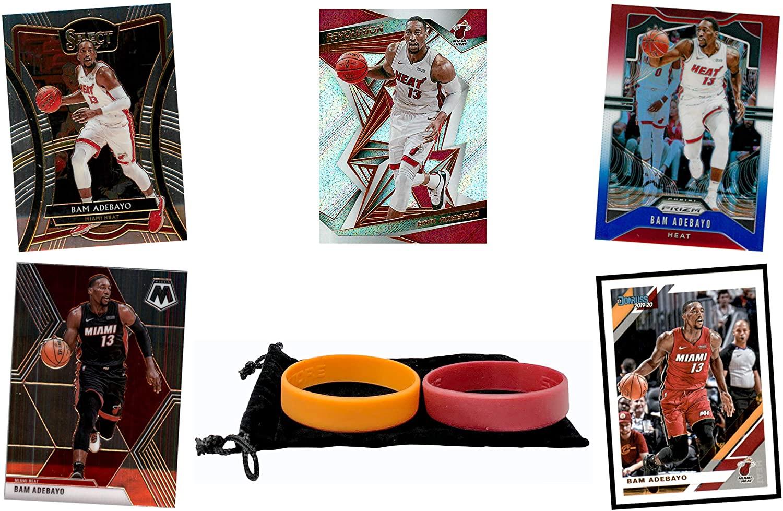 Bam Adebayo (5) Assorted Basketball Cards Bundle - Miami Heat Trading Card Gift Set