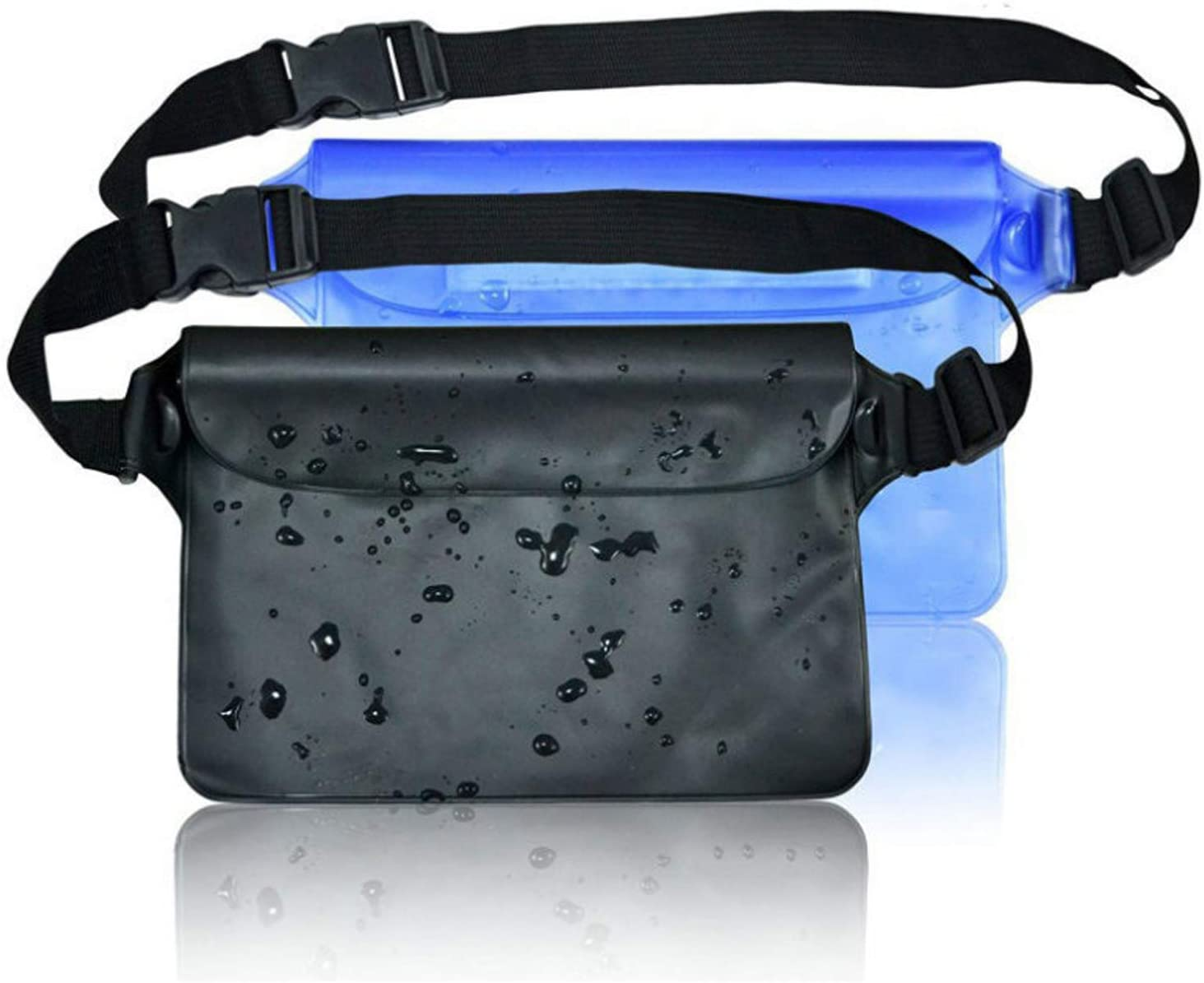 No/Brand Multifunctional Waterproof Bag with Adjustable Waist Strap 2 Packs Transparent Screen Touchable Dry Bag for Snorkeling Kayaking Swimming Fishing Skiing Hiking