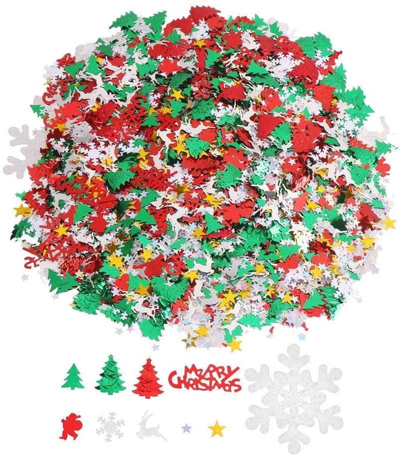 DIYASY Christmas Confetti,4800 Pcs/100 Gram Glitter Confetti Sprinkles Table Confetti for New Year Decoration.
