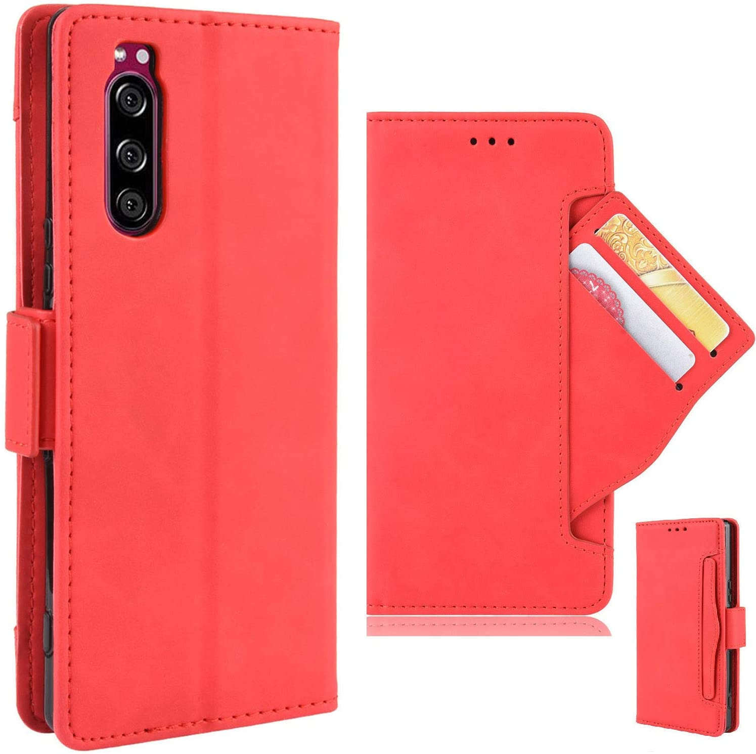 Sony Xperia 5 PU Leather Kickstand Wallet Phone Case, Flip Magnetic Cover with Card Slot and Removable Card Holder (5 Colors, red),30