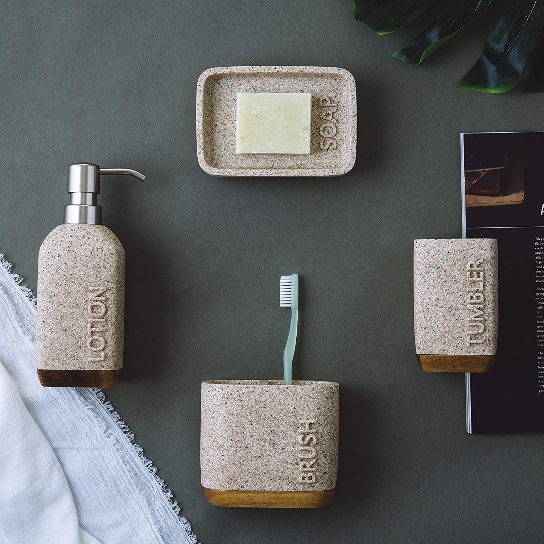 Mooi Space Mercado Sandstone Resin Bathroom Accessory Set - 4 Pieces Features Liquid Dispenser, Toothbrush Holder, Tumbler, Soap Dish