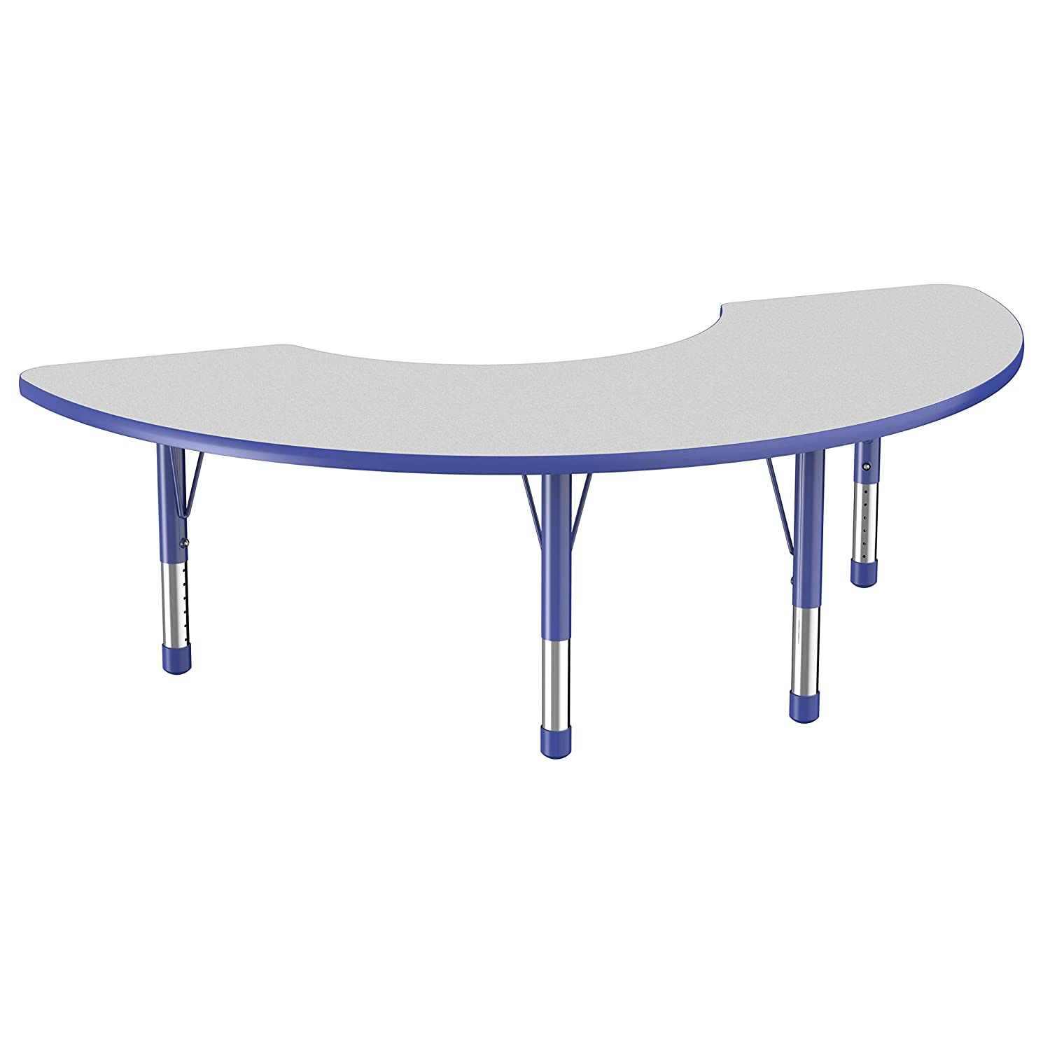 Factory Direct Partners Half Moon Activity School and Classroom Kids Table (36 x 72 inch), Toddler Legs for Collaborative Seating Environments, Adjustable Height 15-24 inches - Gray Top and Blue Edge