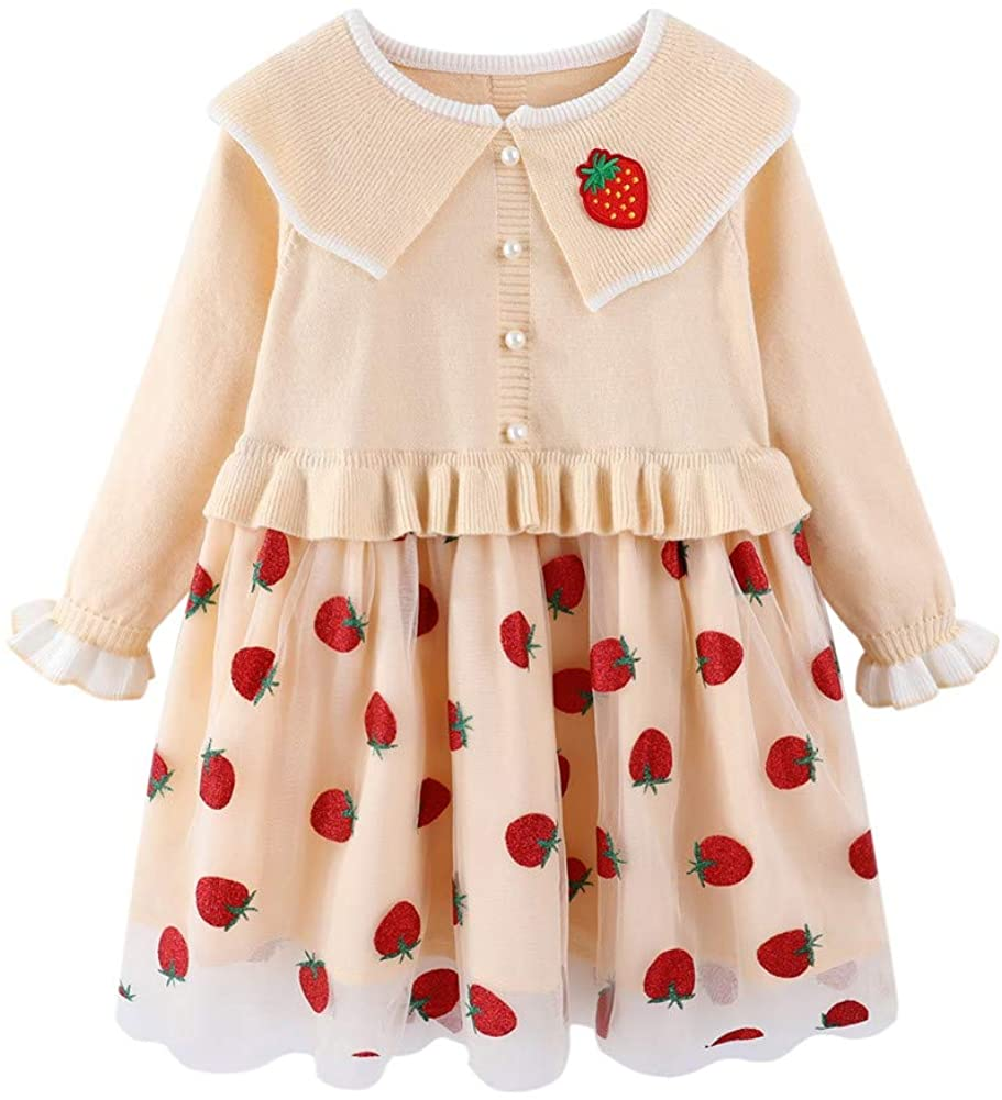 Mud Kingdom Little Girls Boutique Strawberry Collared Sweater Dress Ruffle