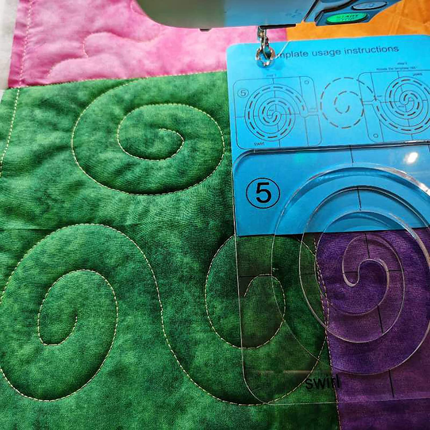 YICBOR Swirl Template for Quilting Fits Inside FMQ Grip 5
