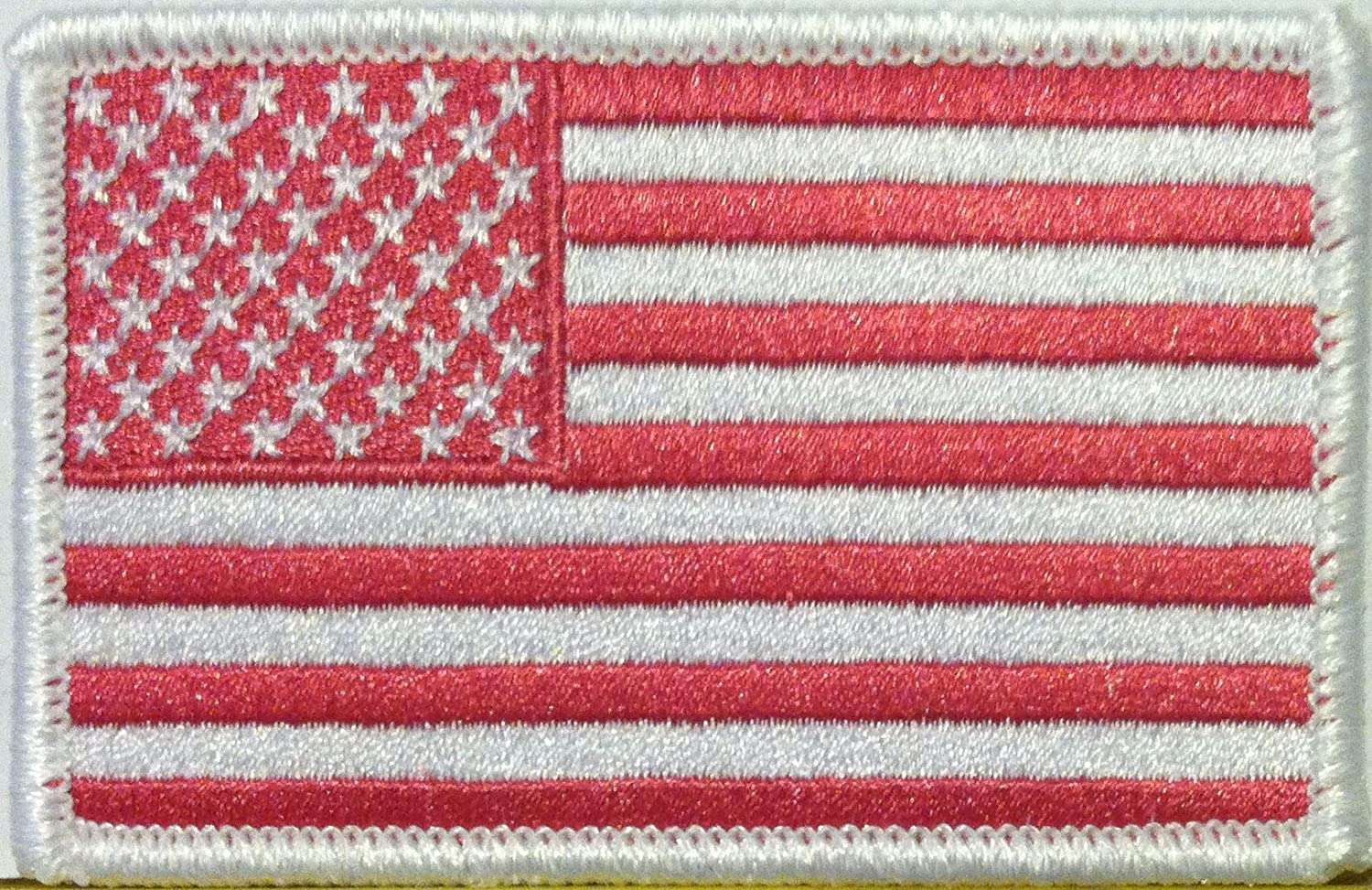 AMERICAN USA FLAG Embroidered Iron-On PATCH Rose Pink Color Version White Border