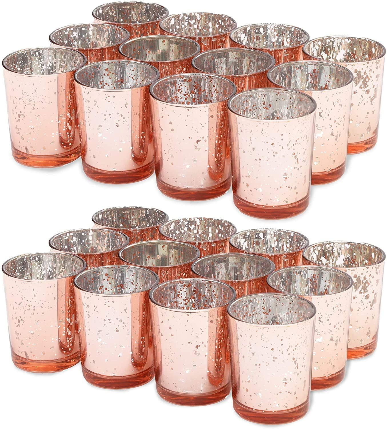 MICROSUN 24 Packs Mercury Pink Glass Tea Light Candle Holders, Speckled Tealight Candle Votives for Table Décor, Christmas Decorations, Wedding Centerpieces, Guest Gifts, 2.75 Inch (H)