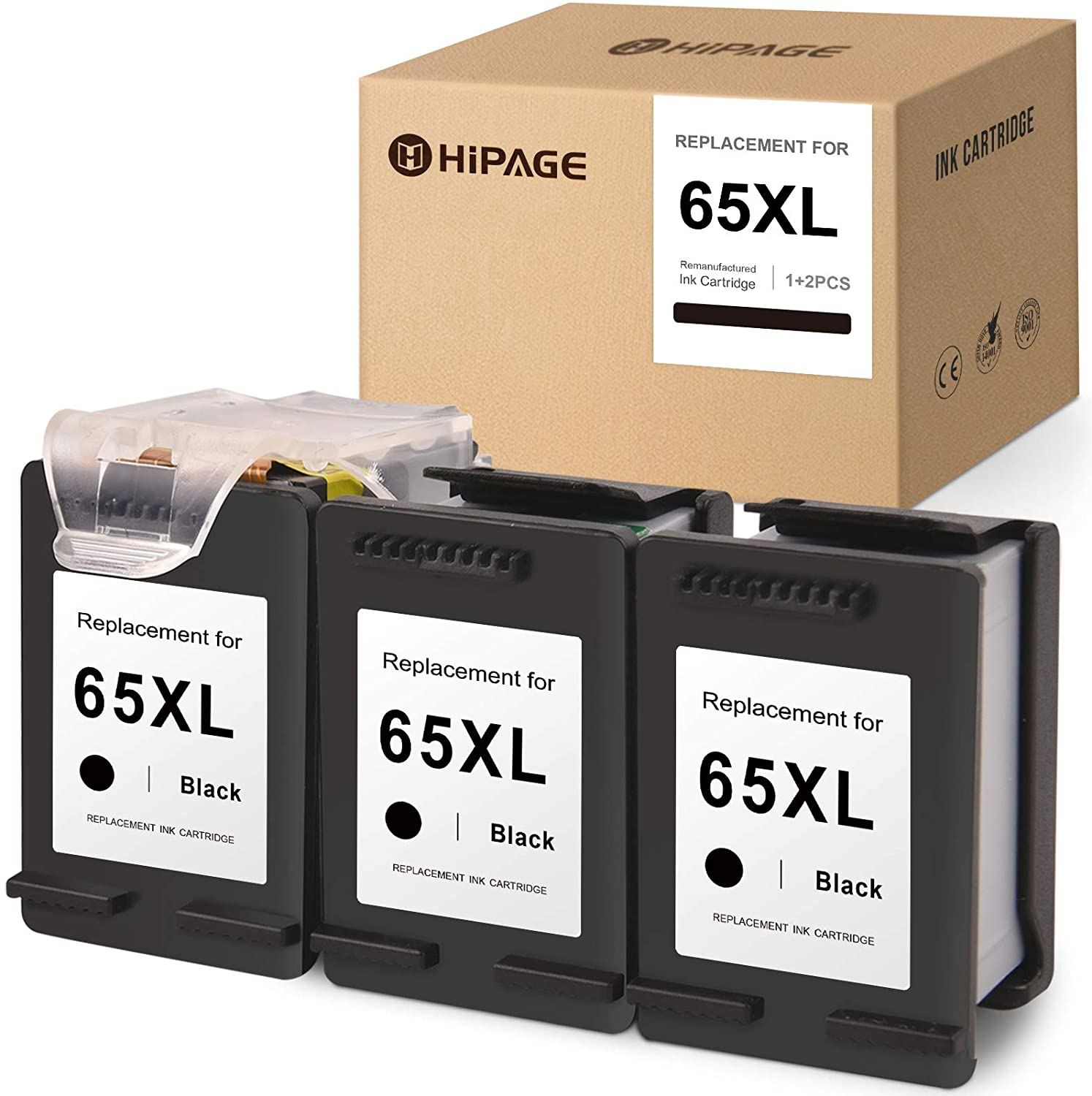 HIPAGE Remanufactured Ink Cartridge Replacement for HP 65XL 65 XL Recharge Design for HP DeskJet 3752 2622 3755 2652 2655 2636 3720 3758 3730 2621 3721 3732 Envy 5055 5052 5012 (Black, 3-Pack)