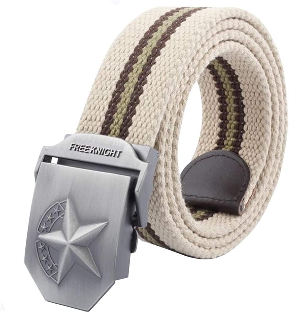 LKMY Mens Belts, Mens Nylon Canvas Belt Metal Buckle Tactical Military Belts, Adjustment- for Jeans