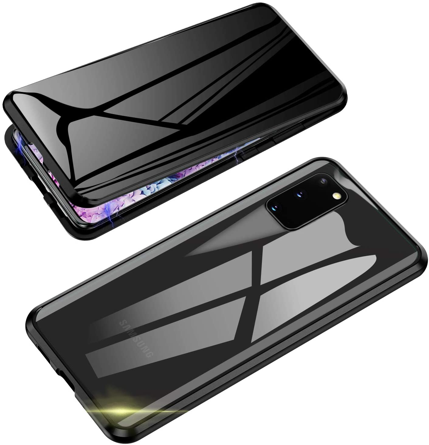 Anti-Spy Case for Samsung Galaxy S20, Jonwelsy 360 Degree Front and Back Privacy Tempered Glass Cover, Anti Peeping Screen, Magnetic Adsorption Metal Bumper for Samsung Galaxy S20 (Black)
