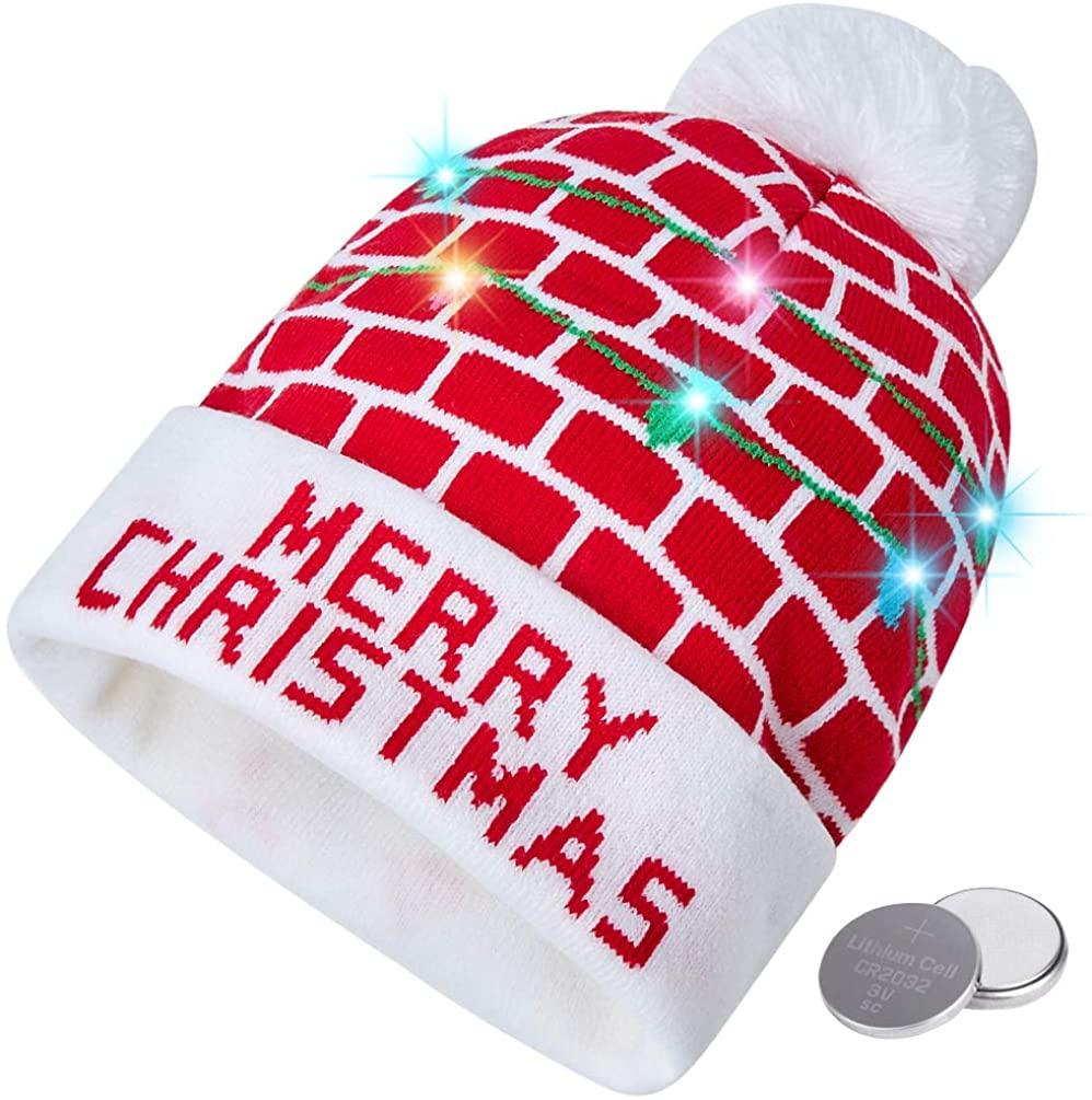 RAISEVERN Unisex Ugly LED Christmas Hat Novelty Colorful Light-up Stylish Knitted Sweater Xmas Party Beanie Cap(6 Lights)