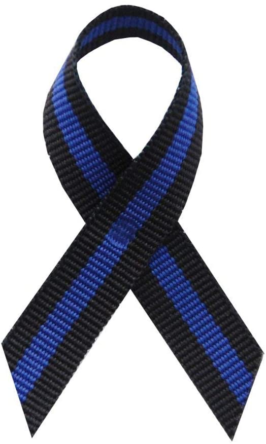 USA Made 125 Thin Blue Line Fabric Awareness Ribbons - Bag of 125 Lapel Ribbons with Safety Pins