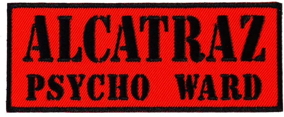 Graphic Dust Alcatraz Psycho Ward Prisoner Embroidered Iron On Patch Halloween Funny Costume Prison Jail Police Jacket Jean Death Biker Gang Logo Symbol Halloween Cosplay Motorcycle Car Racing Skull