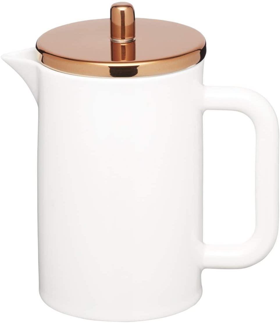 KitchenCraft Le'Xpress Bone China Porcelain 6-Cup Cafetière with Copper-Effect Lid, 800 ml (1.5 pints) – White