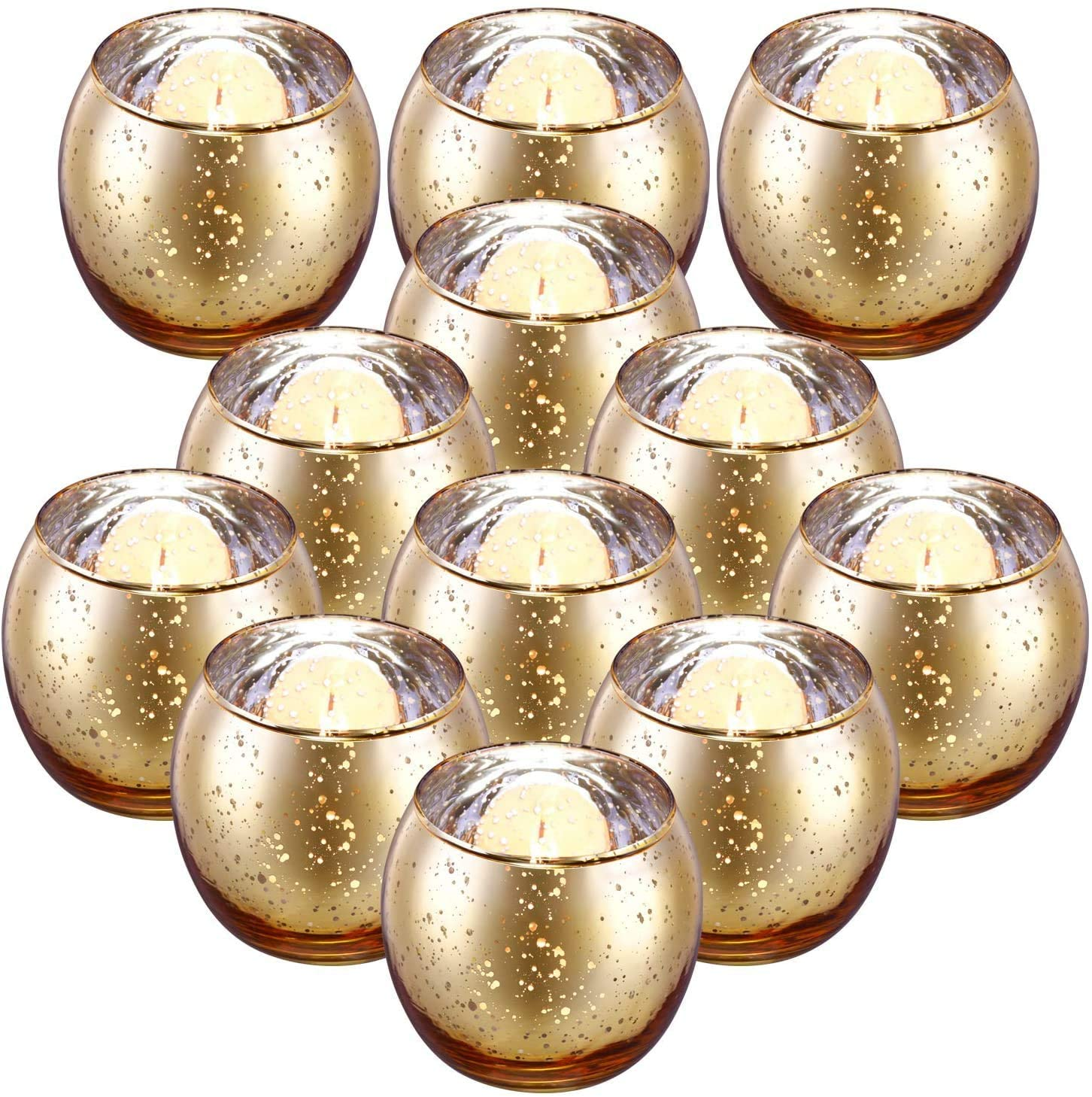 Gold Bowl Votive Tealight Candle Holder Bulk - Set of 12 Speckled Mercury Gold Candle Holders for Table Centerpieces, Wedding Decorations, Thanksgiving Decorations, Christmas Decoration (gold)