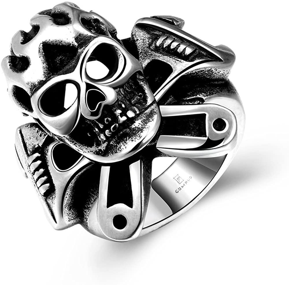 LQinuan Stainless Steel Skull Rings for Men Boys Jewelry Chic Punk Skull Head