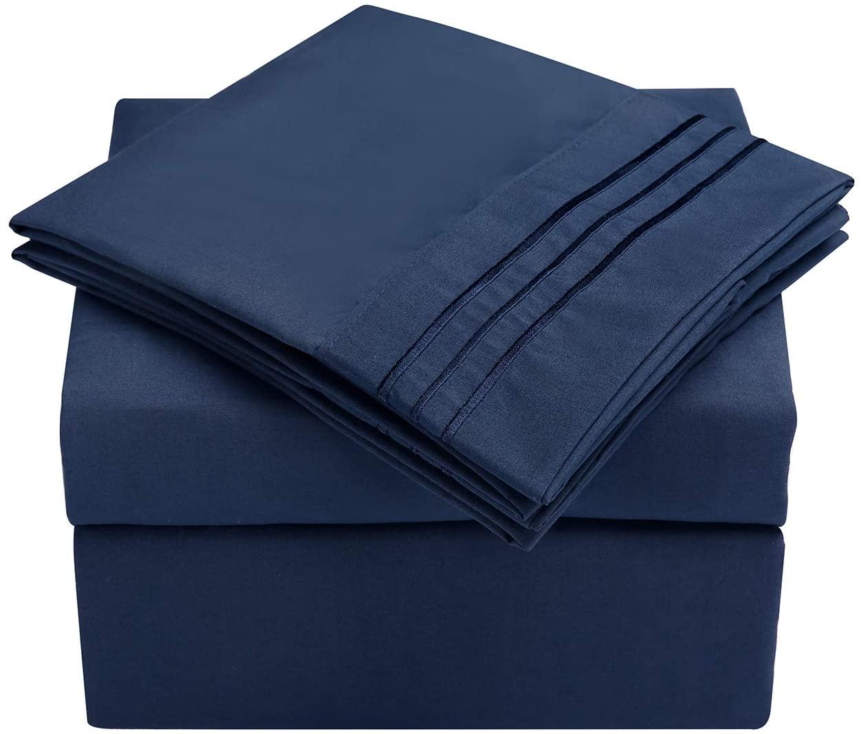 HooSeen 4-Pieces Bed Sheets Set 1800 Series Microfiber-Wrinkle & Fade Resistant, Deep Pocket, Hypoallergenic Bedding Set, Pillow Case (Navy, King)