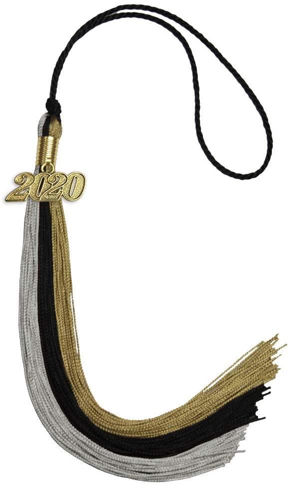 Endea Graduation Triple Color Tassel with Gold Date Drop (Black/Grey/Antique Gold, 2020)