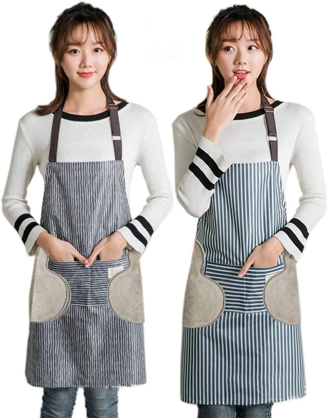 Oxford Adjustable Apron with Pockets Waterproof Aprons with towels Bib Cooking Aprons for Women Men,Gray&Blue stripe