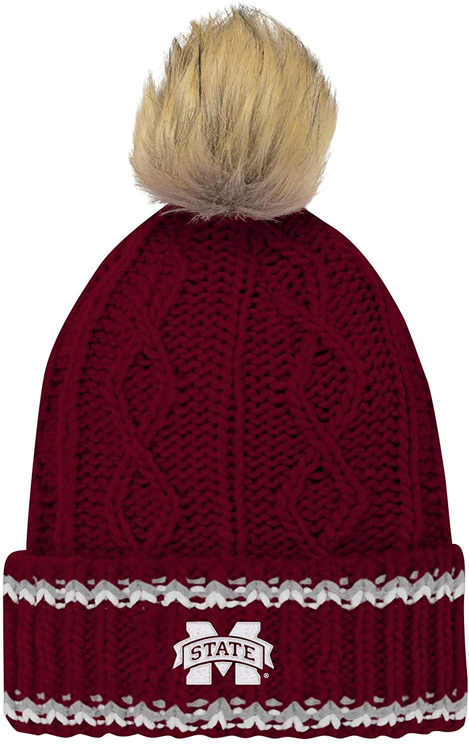 Outerstuff NCAA Youth Girls Mississippi State Bulldogs Fan-Core Furry Pom Cable Knit Hat, One Size