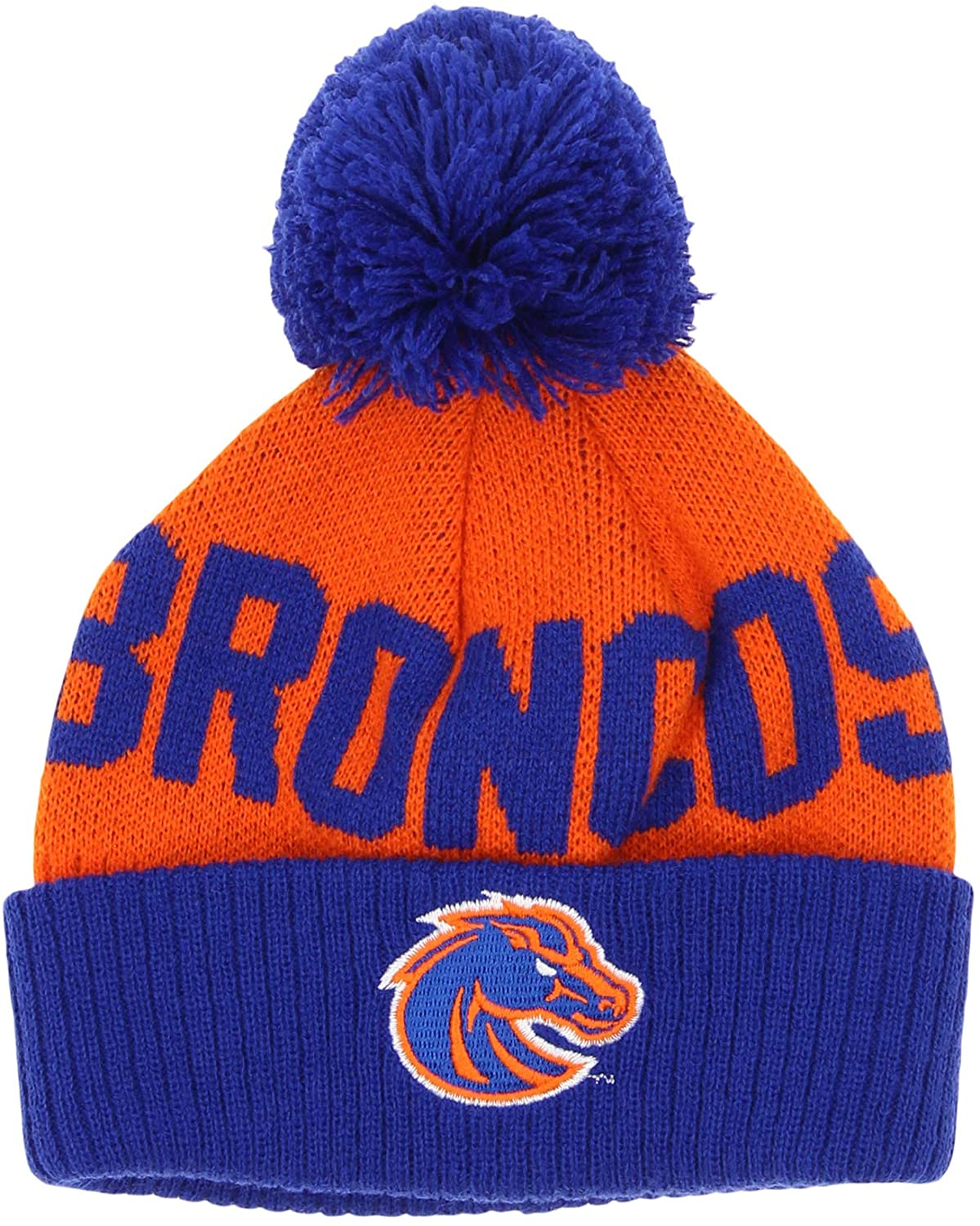 OuterStuff NCAA Toddlers Boise State Broncos Jacquard Cuffed Knit Pom Hat, 2T