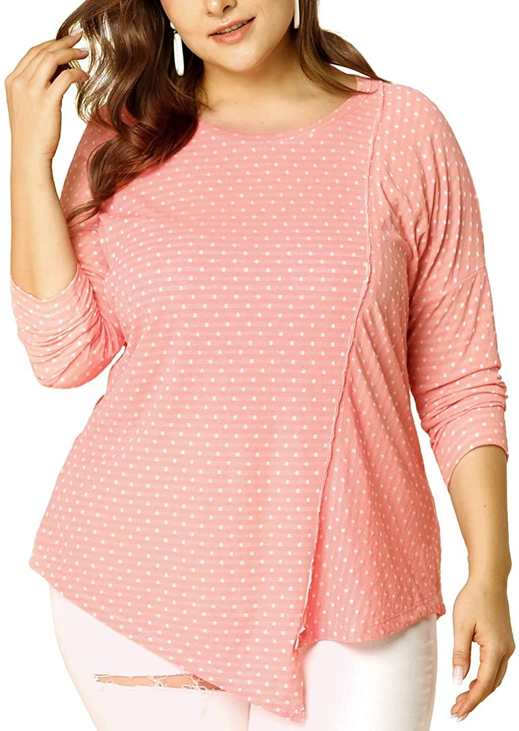 Agnes Orinda Women's Plus Size Knit Top Polka Dots Long Sleeves Irregular Tops 2X Pink