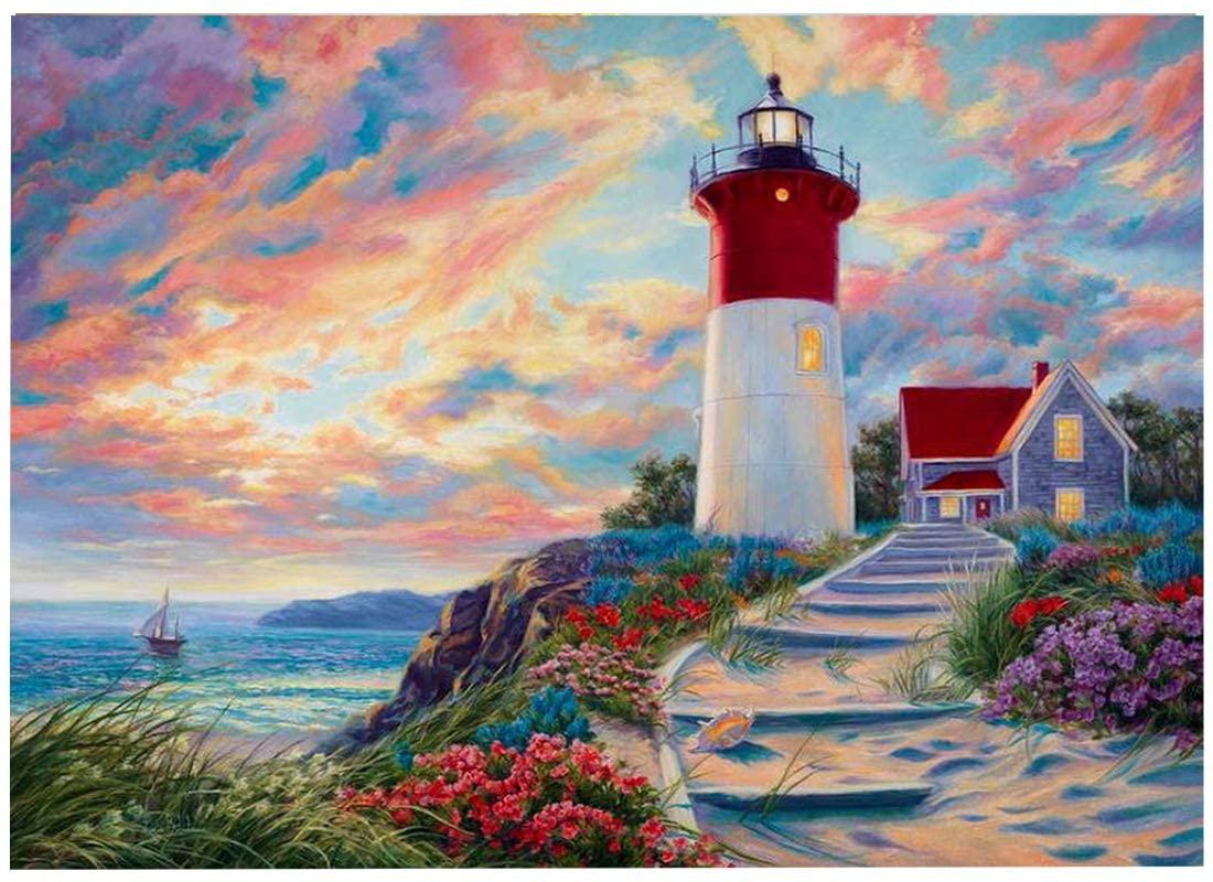 AiEllen DIY Diamond Painting Counting Set, Cross Stitch Craft Wall Decoration, (12X16 inch / 30X40cm) Lighthouse