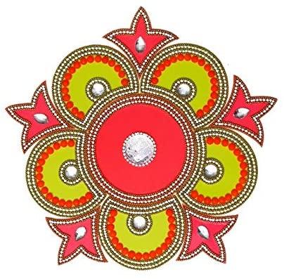 HANDICRAFT STOREROOM Handcrafted Decorative Dewali Rangoli Set-Multicolor Jewel Stone/kundan Decoration (Set of 11 Pieces)