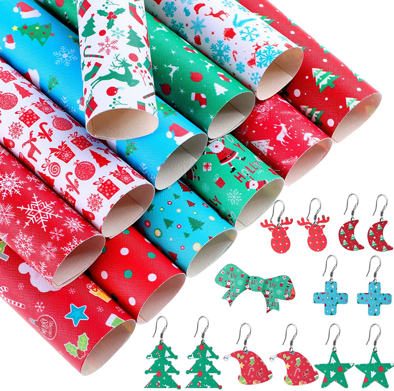 12 Pieces Christmas Theme Faux Leather Sheets for Party, Christmas Pattern Printed Leather Sheets Synthetic Leather Fabric Sheets DIY Crafts for Earrings Hair Bows DIY Crafts Making, 6.3 x 8.3 Inches
