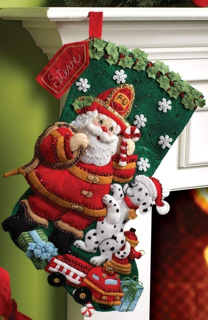 Bucilla 18-Inch Christmas Stocking Felt Applique Kit, 86107 Fireman Santa