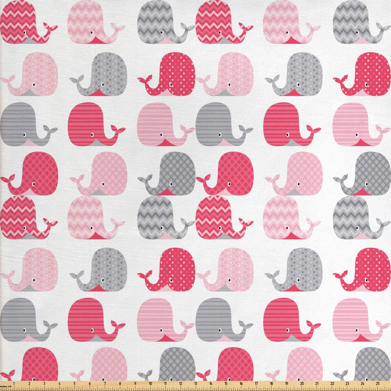 Lunarable Whale Fabric by The Yard, Patterned Mammals Design Oceanic Animals Aqua Wildlife Theme, Decorative Fabric for Upholstery and Home Accents, 1 Yard, Pink Grey
