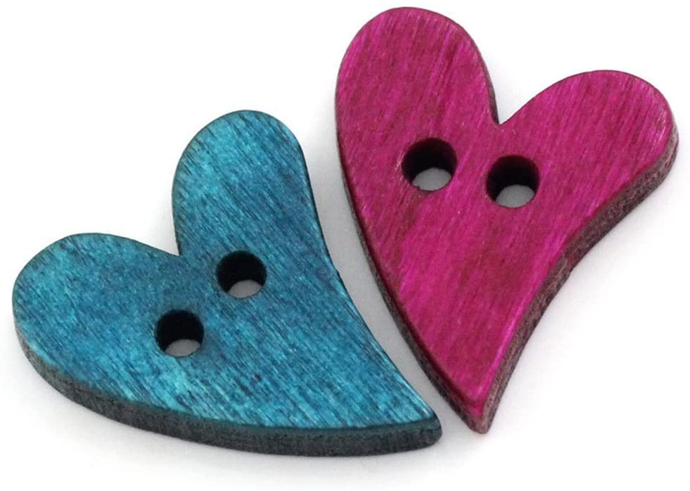 ORYOUGO 100 Pieces Colorful Wood Buttons Sewing Scrapbooking Love Heart Mixed