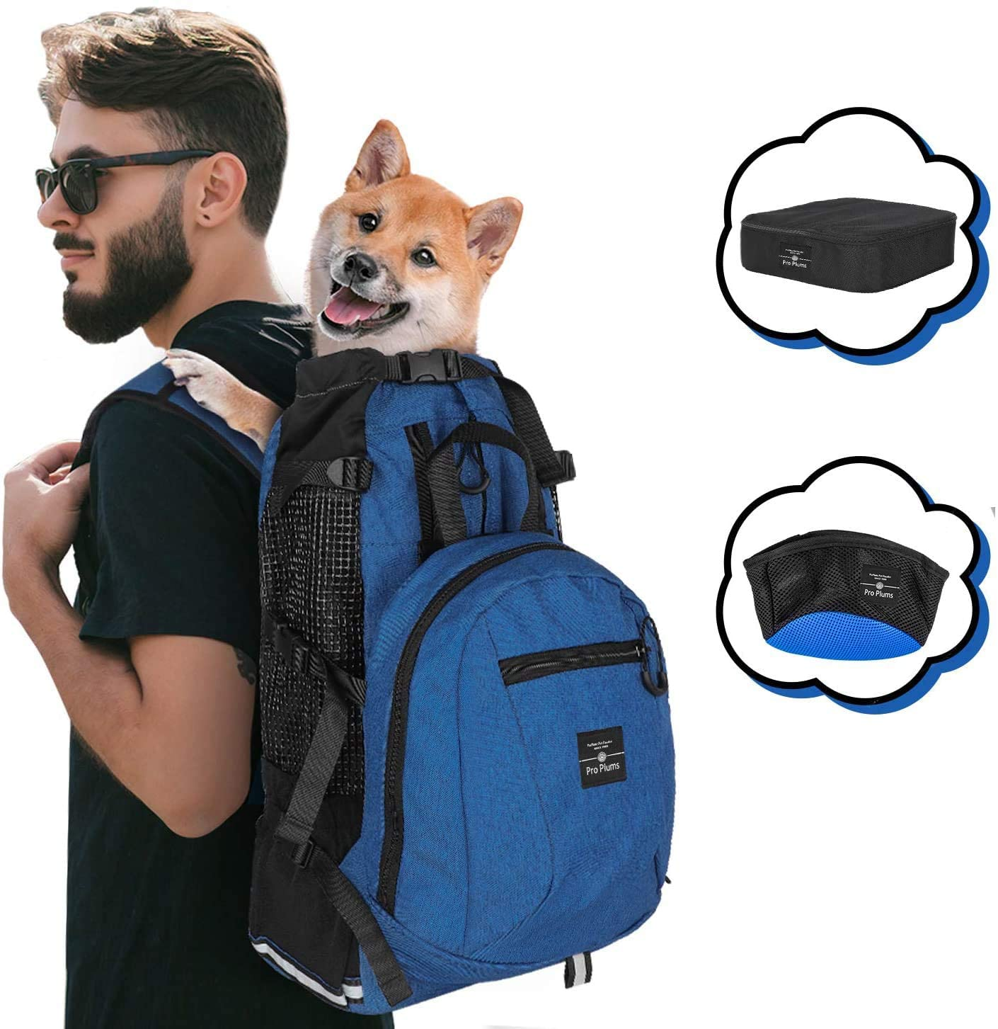 PROPLUMS Dog Carrier Backpack for Small and Medium Dogs Multifunction Pet Sport Sack Air for Walking Hiking and Traveling with Detachable Storage Bag Free Booster Block and Collapsible Dog Bowls