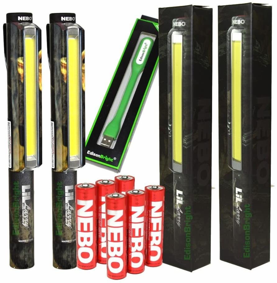 2 PACK Nebo LiL Larry 250 lumen 6466 Flashlight Super Bright COB LED Magnetic Worklight, Camo print with 6 Nebo AAA batteries and EdisonBright USB powered reading light bundle