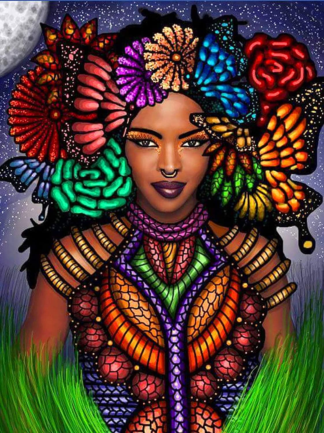 Ginfonr 5D Diamond Painting African Custom Women, Exotic Beauties, by Number Kits Girls Fairies Paint with Diamonds Full Drill Art Crystal DIY Embroidery Rhinestone Decor Craft (12x16 inch)-Gms7