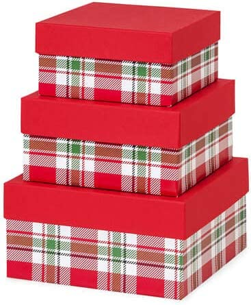 "Made in USA Recycled Paper Kraft Boxes – 6.25"", 7.25"" & 8.25"" – Nested Squared Boxes with Lids (Large Set of 3 - Christmas Plaid)"