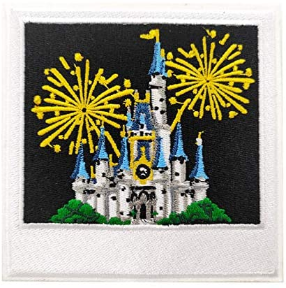"""4"""" Large Blue Castle Fireworks Embroidered Iron on Patch sew on Cartoon Applique for Boys Kids"""