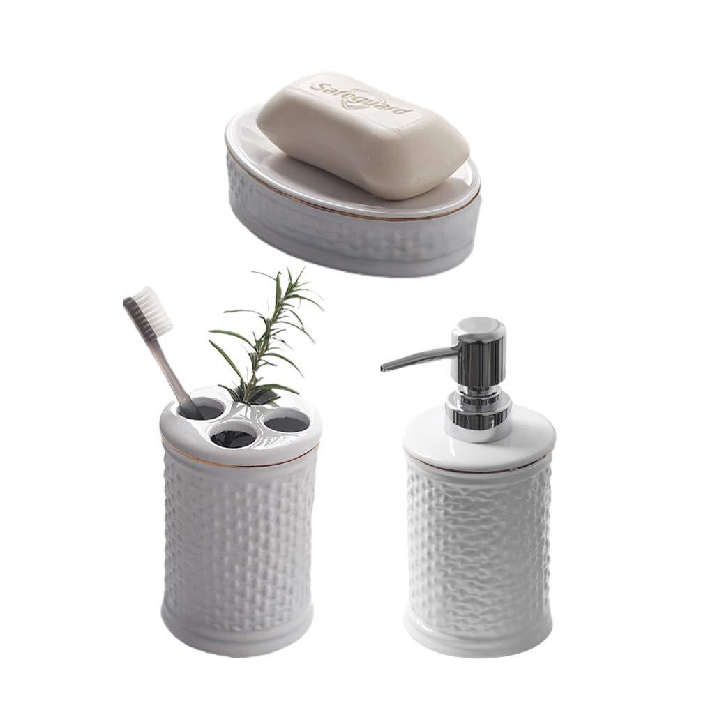 TOPBATHY Ceramic Bath Accessory Set Includes Porcelain Liquid Soap Dispenser Toothbrush Holder Soap Dish For Home Washroom Family Gift