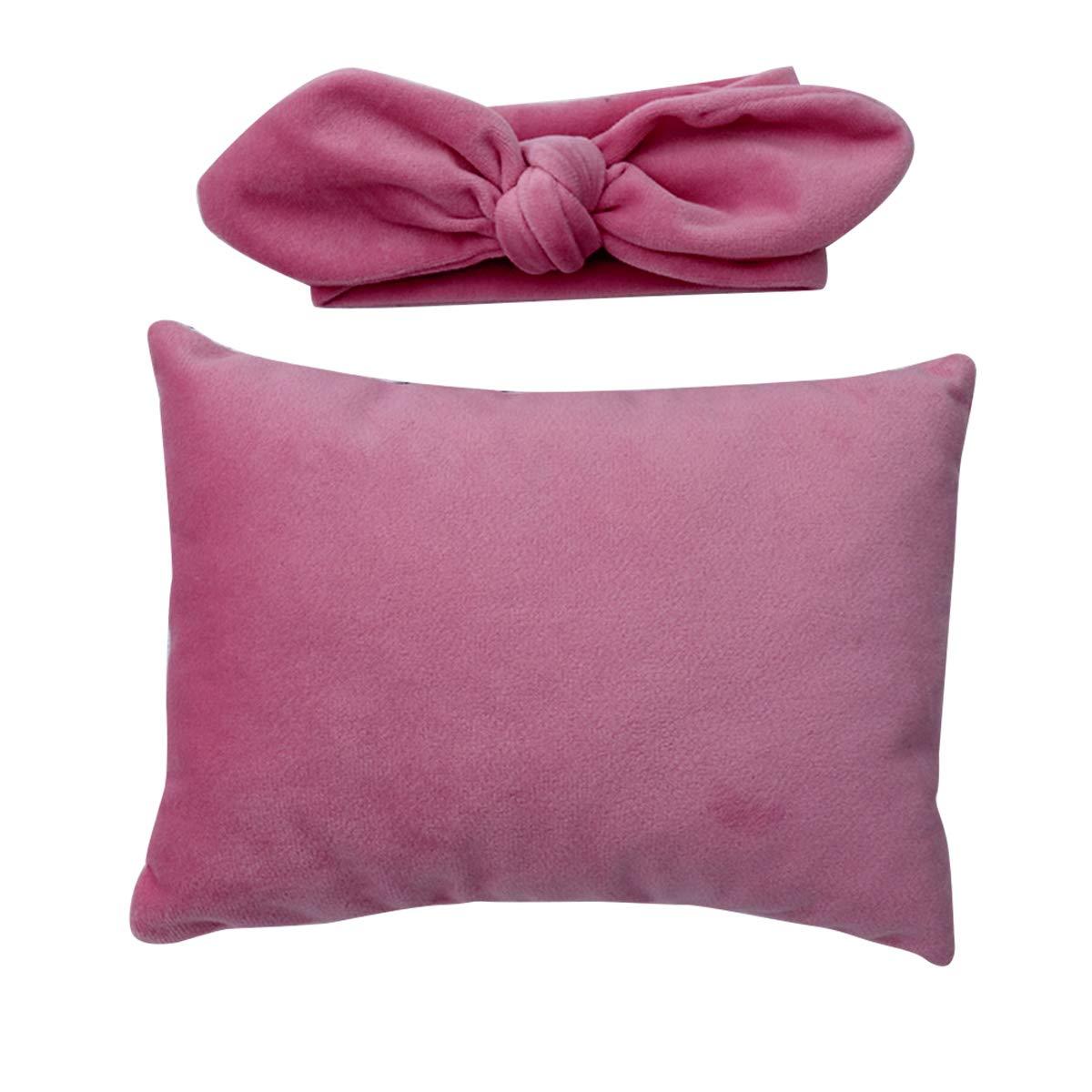 Owlike 2pcs/lot Baby Super Soft Velvet Posing Pillow + Headband Newborn Photography Props - Cameo