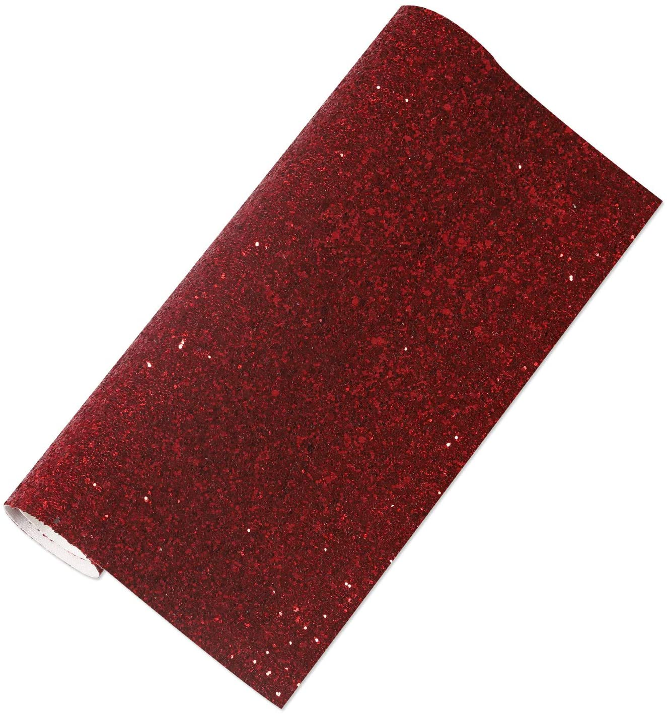Funcolor 8.2 x 53(21cm x 135cm) Red Faux Leather Sheets Fabric Shiny Glitter Pattern Printed Bow Earrings Making Handmade Leather DIY Craft,Festival Decoration……