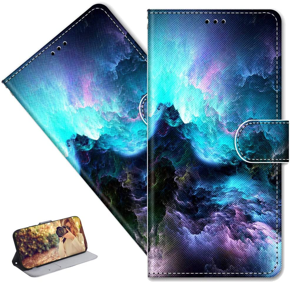 MRSTERUS Galaxy S9 case Creative Cute Painted Pattern Design PU Leather flip Notebook Wallet Protective Cover Magnetic Stand Slot Bumper Box for Galaxy S9 Colorful Clouds DK