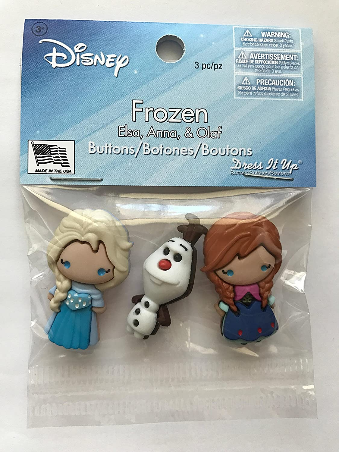 Dress It Up Disney Frozen Elsa Anna Olaf Button Embellishment